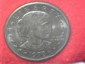 1979 D MINT OFF CENTER SUSAN B ANTHONY DOLLAR. DOUBLE DYE REVERSE.