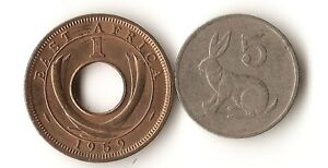 TWO AFRICA COINS EAST AFRICA 1 CENT 1959 ZIMBABWE 5 CENTS 1980