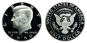 1990 S GEM BU PROOF KENNEDY HALF DOLLAR 50 CENT BRILLIANT UNCIRCULATED COIN  PF