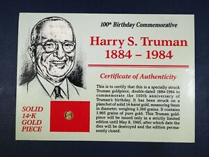 HARRY TRUMAN 14K GOLD MINI COIN 100TH BIRTHDAY COMMEMORATIVE LIMITED EDITION