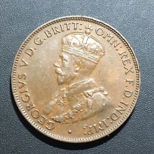 OLD FOREIGN WORLD COIN: 1934 AUSTRALIA 1/2 PENNY
