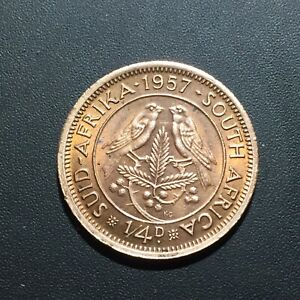 OLD FOREIGN WORLD COIN: 1957 SOUTH AFRICA 1/4 PENNY