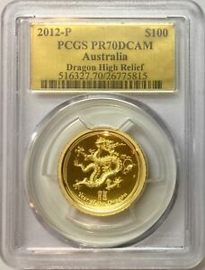 Click now to see the BUY IT NOW Price! 2012 1 OZ HIGH RELIEF PROOF GOLD DRAGON PCGS PR 70 DCAM