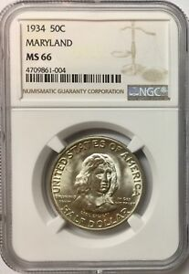 Click now to see the BUY IT NOW Price! 1934 50C MARYLAND SILVER COMMEMORATIVE NGC MS66