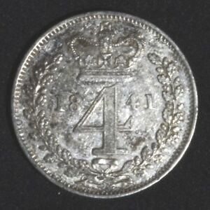 FOURPENCE 1841 MAUNDY GREAT BRITAIN QUEEN VICTORIA   1ST PORTRAIT