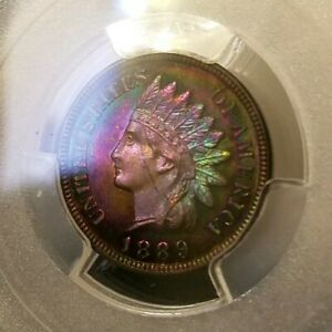 Click now to see the BUY IT NOW Price!   PCGS PR64RB  CAC    1889  INDIAN CENT  2 SIDED SUPERIOR RAINBOW TONED