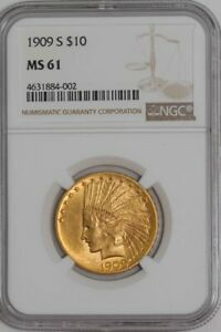 1909 S $10 GOLD INDIAN 939654 6 MS61 NGC
