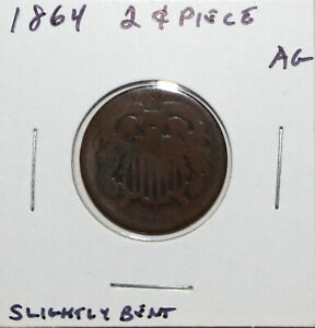 1864 US TWO CENT PIECE  ABOUT GOOD DETAILS