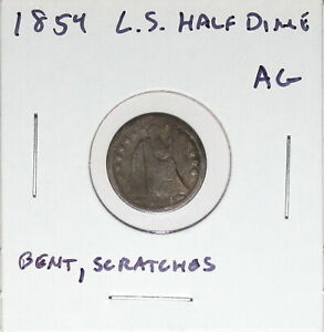 1854 US SEATED LIBERTY HALF DIME  ABOUT GOOD DETAILS  HOLE FILLER