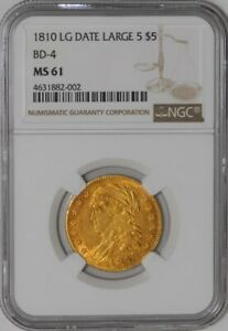 1810 $5 GOLD CAPPED BUST LG DT LG 5 BD 4 941422 65 MS61 NGC