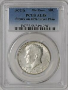 Click now to see the BUY IT NOW Price! 1977 D KENNEDY HALF 50C MINT ERROR STRUCK ON 40  SILVER PLANCHET AU58 PCGS