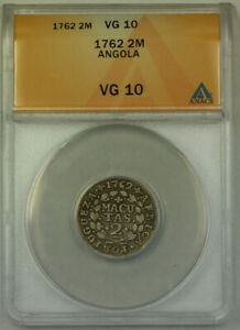 Click now to see the BUY IT NOW Price! 1762 ANGOLA 2 MACUTAS SILVER COIN ANACS VG 10