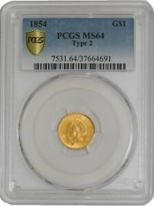 Click now to see the BUY IT NOW Price! 1854 TYPE 2 $ GOLD INDIAN DOLLAR 941573 1 MS64 SECURE PLUS PCGS
