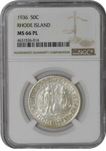 Click now to see the BUY IT NOW Price! 1936 RHODE ISLAND 50C 938763 1 MS66 PL NGC