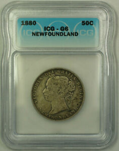 1880 NEWFOUNDLAND QUEEN VICTORIA SILVER 50 CENTS ICG G 6 KM6
