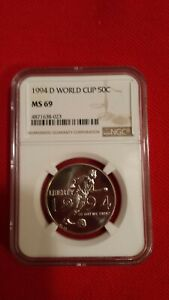 NGC MS 69 1994 D WORLD CUP AMERICA SILVER HALF DOLLAR COIN 50C USMNT SOCCER