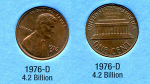1976 D ABE LINCOLN MEMORIAL AMERICAN PENNY 1 CENT US U.S AMERICA ONE COIN B1