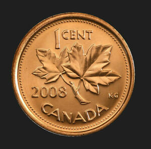3 COINS  2008 MAGNETIC CANADA   1 CENT   UNC. COIN FROM ROLL