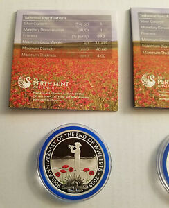 Click now to see the BUY IT NOW Price! 2008 PERTH MINT $1.00 SILVER PROOF ROUND COIN 90TH ANNIVERSARY END OF WW1 & COA