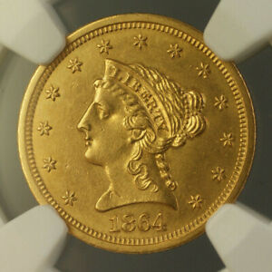 Click now to see the BUY IT NOW Price! 1864 LIBERTY GOLD QUARTER EAGLE $2.50 COIN NGC UNC DETAILS CIVIL WAR ERA RRR