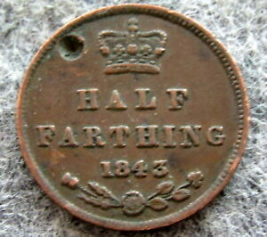 GREAT BRITAIN QUEEN VICTORIA 1843 HALF FARTHING COPPER DAMAGED