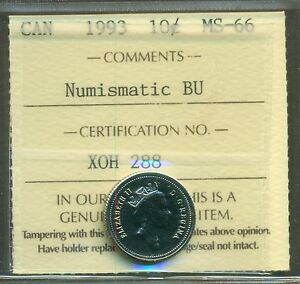 1993 CANADA 10 CENT NBU ICCS MS 66 AFFORDABLE FOR NEW HOBBYIST