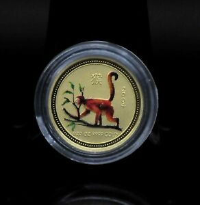 2004 AUSTRALIA 1/20OZ COLORIZED LUNAR YEAR OF THE MONKEY GOLD COIN [079DUD]