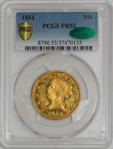 Click now to see the BUY IT NOW Price! 1854 $10 GOLD LIBERTY PR53 SECURE PLUS PCGS   CAC UNMISTAKABLE PROOF STRIKING