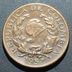 OLD FOREIGN WORLD COIN: 1957 COLOMBIA 5 CENTAVOS