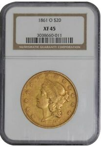 Click now to see the BUY IT NOW Price! 1861 O $20 GOLD LIBERTY 941807 1 XF45 NGC