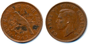 1943 NEW ZEALAND ONE PENNY COIN