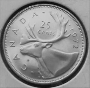 1972 CANADA 25 CENTS UNCIRCULATED COIN