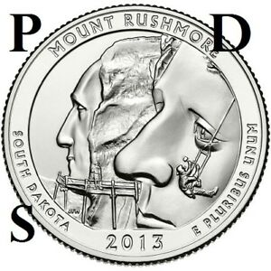 3 COINS  2013 S P D  UNC  MT. RUSHMORE SO. DAKOTA ATB QUARTER US QUARTER DOLLAR