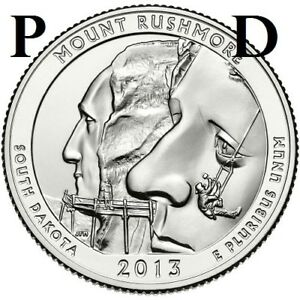 2 COINS  2013 P & D  UNC  MT. RUSHMORE; SO. DAKOTA ATB QUARTER US QUARTER DOLLAR