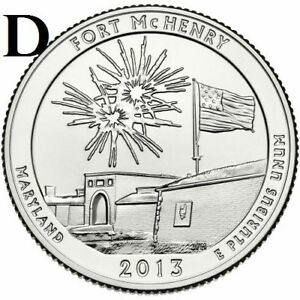 2013 D  UNCIRCULATED  FORT MCHENRY; MARYLAND ATB QUARTER US QUARTER DOLLAR
