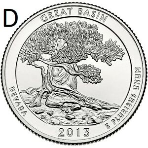 2013 D  UNCIRCULATED  GREAT BASIN; NEVADA ATB QUARTER US QUARTER DOLLAR