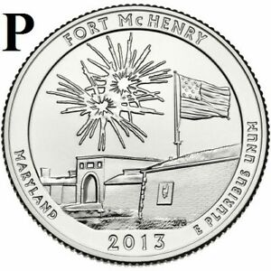2013 P  UNCIRCULATED  FORT MCHENRY; MARYLAND ATB QUARTER US QUARTER DOLLAR