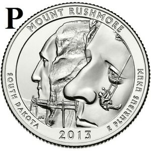 2013 P  UNCIRCULATED  MT. RUSHMORE; SO. DAKOTA ATB QUARTER US QUARTER DOLLAR