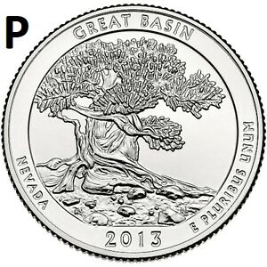 2013 P  UNCIRCULATED  GREAT BASIN; NEVADA ATB QUARTER US QUARTER DOLLAR