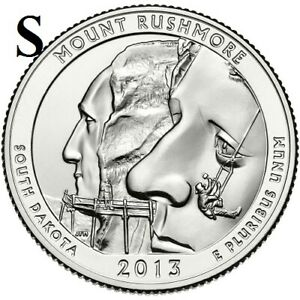2013 S  UNCIRCULATED  MT. RUSHMORE; SO. DAKOTA ATB QUARTER US QUARTER DOLLAR