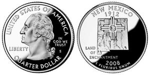 SILVER 2008 S GEM BU PROOF NEW MEXICO STATE QUARTER UNCIRCULATED COIN3416