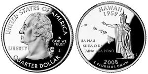 SILVER 2008 S GEM BU PROOF HAWAII STATE QUARTER UNCIRCULATED COIN3438