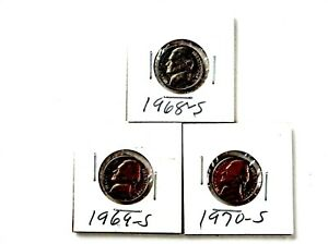 1968S 1969S 1970S  3  JEFFERSON NICKEL SET  LOT 14
