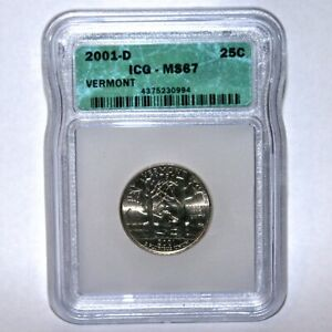 2001 D VERMONT STATE QUARTER ICG CERTIFIED MS 67 [97LAJ]