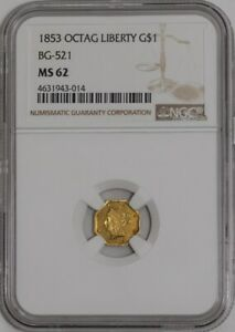 Click now to see the BUY IT NOW Price! 1853 CALIFORNIA FRACTIONAL GOLD OCTAG LIBERTY BG 521 MS62 NGC   941926 11