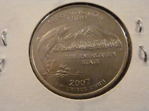 2007 D  UNCIRCULATED AU  WASHINGTON STATE QUARTER US QUARTER DOLLARS