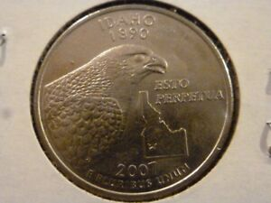 2007 D  UNCIRCULATED AU  IDAHO STATE QUARTER US QUARTER DOLLARS