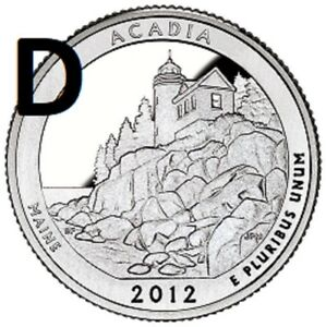 2012 D  UNCIRCULATED  ACADIA; MAINE ATB QUARTER US QUARTER DOLLAR