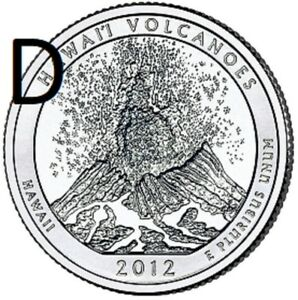 2012 D  UNCIRCULATED  VOLCANOES; HAWAII ATB QUARTER US QUARTER DOLLAR