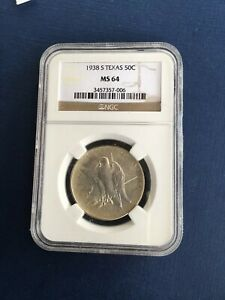 1938 S TEXAS COMMEMORATIVE HALF DOLLAR NGC MS 64 LOW MINTAGE KEY DATE